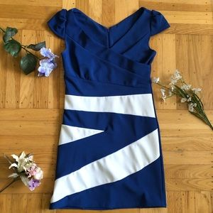 Blue nautical dress with white stripes